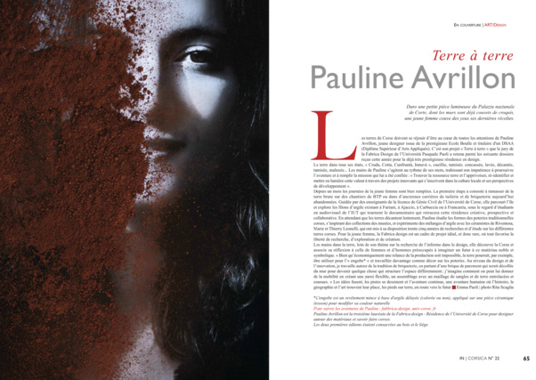 Pauline Avrillon, lauréate de la résidence Fabbrica design de l'Università di Corsica Pasquale Paoli