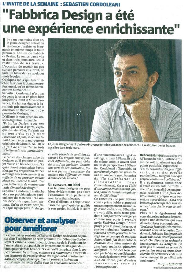 Article de Corse Matin du 19-04-2015 sur Fabbrica Design. Portrait de Sébastien Cordoleani