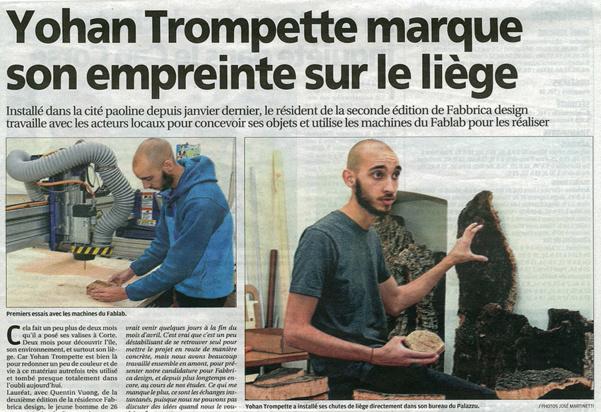Article de Corse matin sur Yohan Trompette