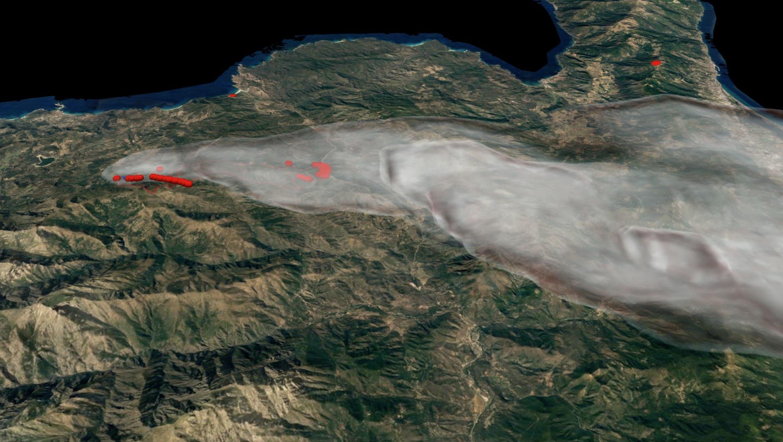 Simulation de l'incendie de Ville di Parasu, Novembre 2017.